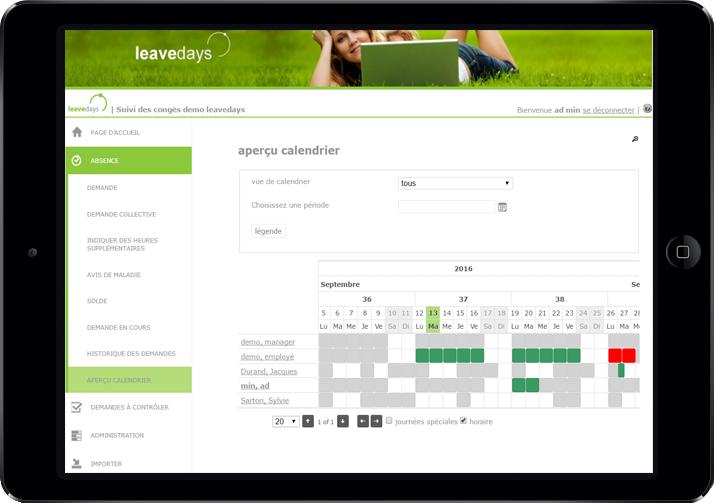 Planning des congés sur logiciel Leavedays